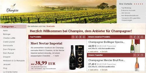 Herzlich Willkommen bei Champire, dem Anbieter für Champagner!