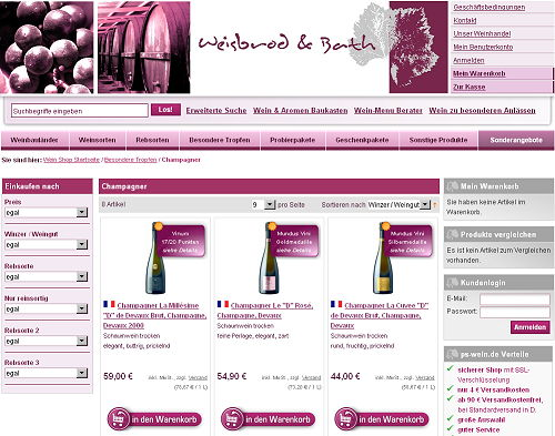 Internationaler Weinhandel online + Infos