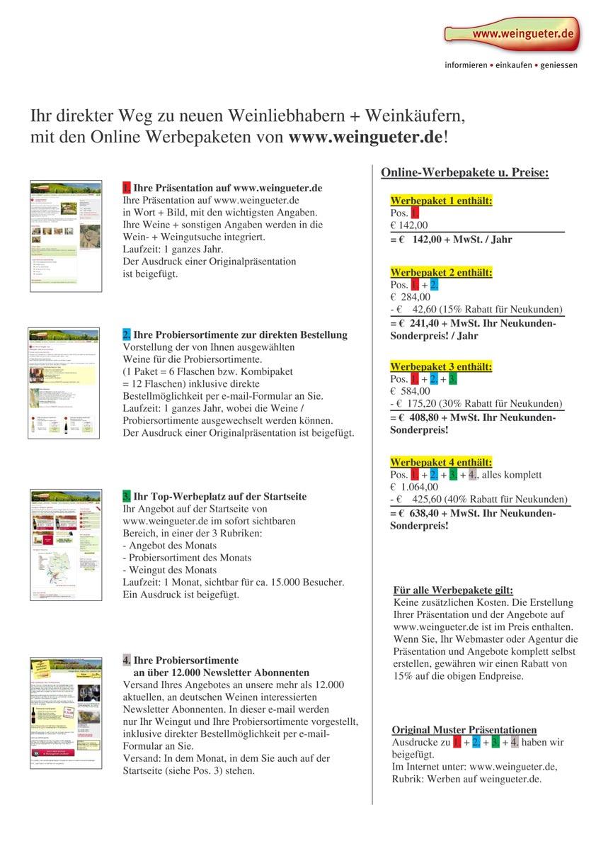 Kostenlose Unterlagen Top Eintrag mit Werbung bei weingueter.de