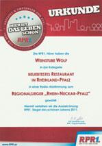 Auszeichnung Empfohlenes gastlichen Haus Südpfalz